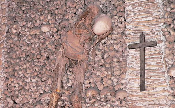 Skeletons in the Bone Chapel (Evora, Portugal)