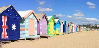 Bathing boxes at Brighton Beach, Melbourne, Victoria