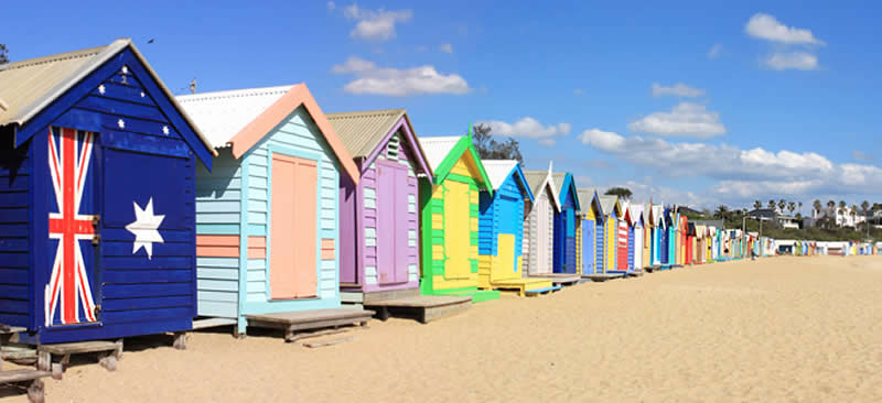 Bathing boxes at Brighton Beach, Melbourne, Victoria