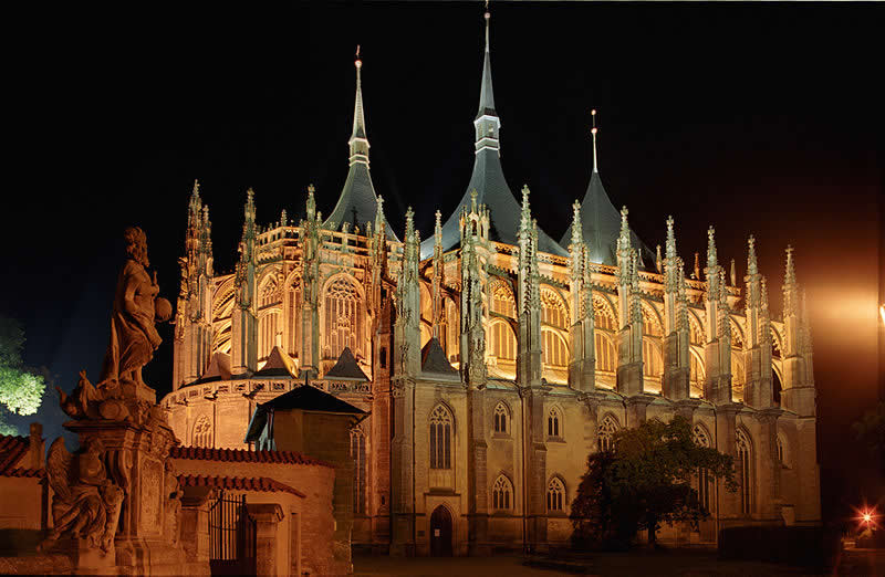 Kutná Hora - St. Barbara Church at the night - Czech Republic