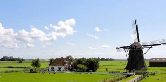 Netherlands - landscape photo - green fields - mill