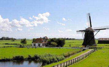 Netherlands - landscape photo - green fields - mill