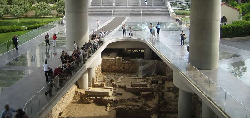 New Acropolis Museum, Athens, Greece. Ruins in the entrance.