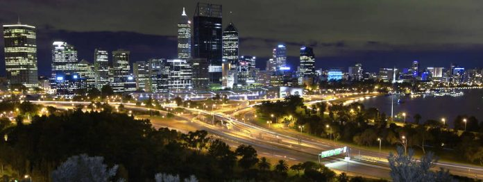 Perth CBD at night, looking from King's Park - Australia