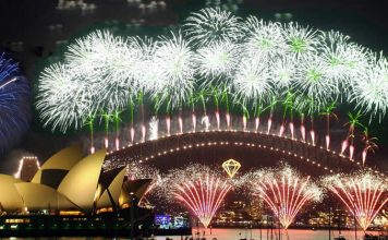 Harbour Bridge and Sydney Opera House in lights of New Year's Eve festive fireworks - Australia
