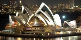 Sydney Opera House at night from Harbour Bridge - Australia travel