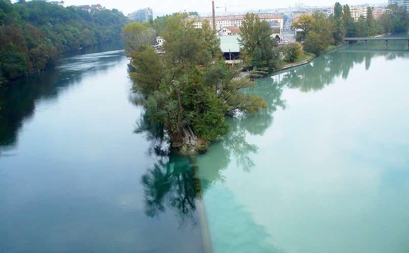 The Rhone River meets The Arve River in Geneva, Switzerland