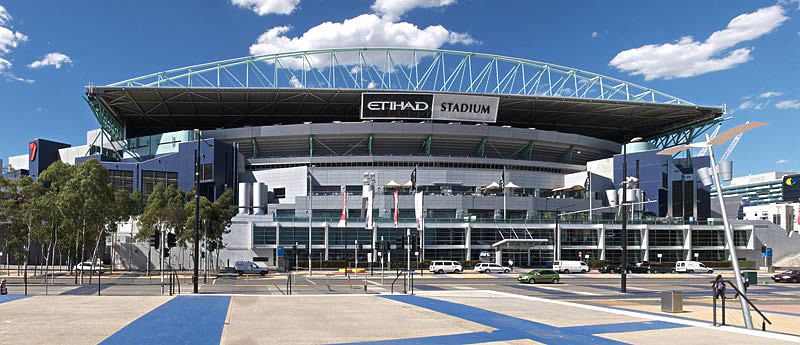 Formerly Docklands Stadium, currently known as Etihad Stadium, Melbourne, Australia. As seen from the Docklands waterfront.
