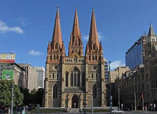 St Paul's Cathedral, Melbourne, at Federation Square