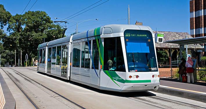 Melbourne tram stops at the St Vincent's Plaza, East Melbourne