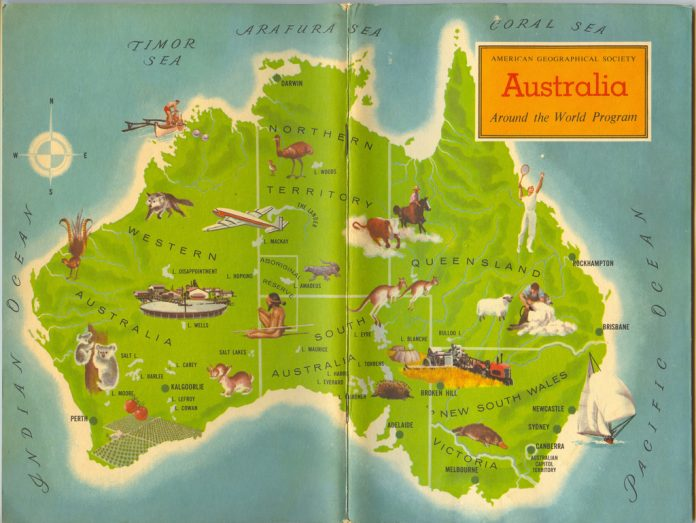 Travel around Australia - map