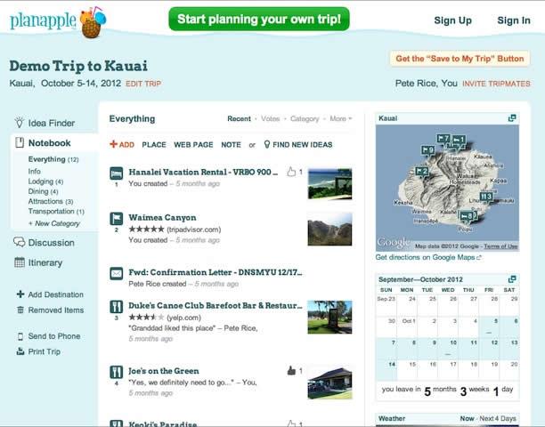 Travel planning app - Planapple