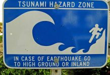 Tsunami Sign in California USA