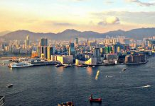 Hong Kong harbour and Kowloon from the Island Shangri-La