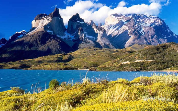 Torres del Paine from Lake Pehoe, Torres del Paine National Park, Chile