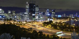 Perth CBD at night, looking from King's Park - Australia