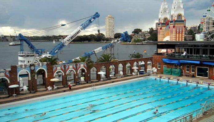 Sydney Olympic Swimming Pool near Luna Park Sydney Harbour, Australia - Travel - Australia - Sydney