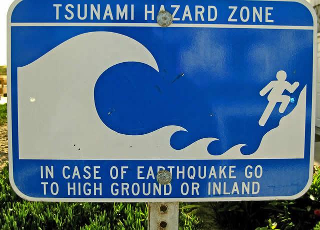 Tsunami Sign in California USA